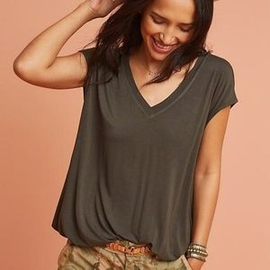 Anthropologie Journey V-Neck Tee in Olive Army